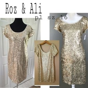 Roz & Ali gold Aequin Sheath Dress